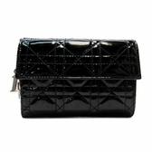 Dior 迪奧 黑色漆皮扣式中夾 【二手品牌 BRAND OFF】