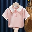 女童短袖 女童裝寶寶嬰幼兒童韓版短袖POLO領休閑T恤上衣2021品牌夏裝新款 歐歐