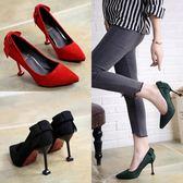 (低價促銷)蝴蝶結高跟鞋34-39女新品細跟淺口尖頭單鞋顯瘦貓跟鞋套腳女鞋