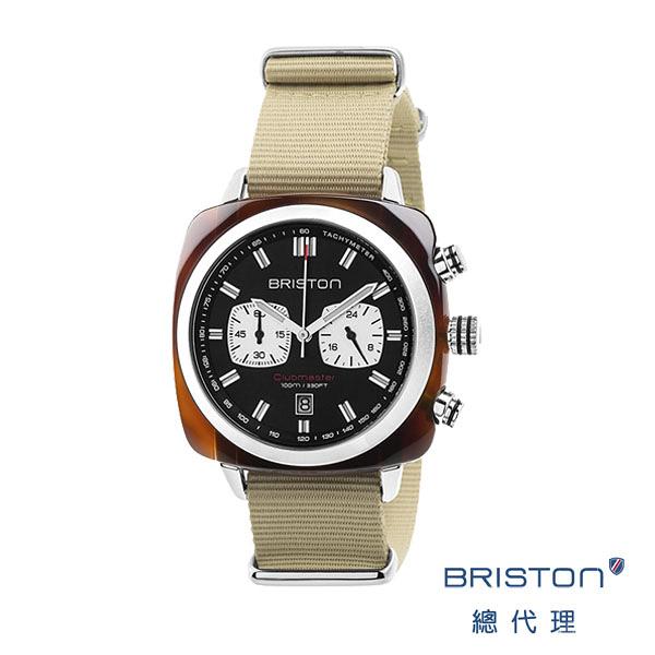 BRISTON SPORT 熊貓錶 黑錶盤卡其色錶帶/ 3760004812630 BRISTON官方直營