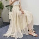 網紗裙 雪紡半身裙女夏高腰中長款網紗裙a字超仙垂墜感大擺長裙-Ballet朵朵