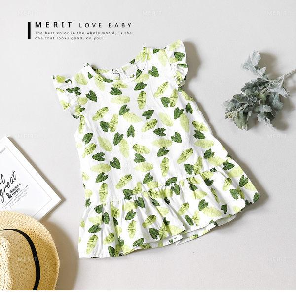 寶寶 清新夏日熱帶葉子荷葉袖棉麻上衣 白底 渡假風 baby 女童 哎北比童裝