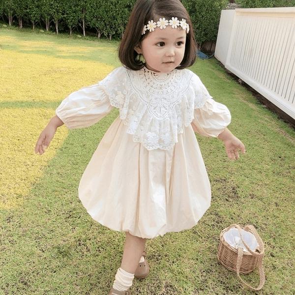 蕾絲花領下擺蓬蓬長袖洋裝 女童 兒童 中童 連衣裙 連身裙 橘魔法 現貨 童裝