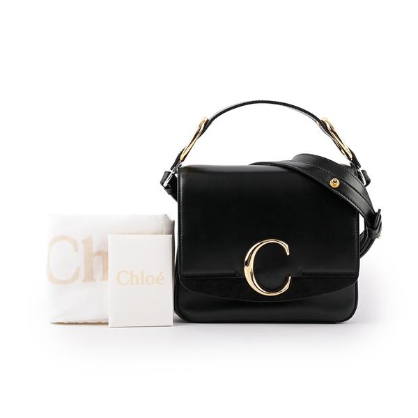 【CHLOE】(展示品)Small C Bag 小牛皮手提/斜背兩用包(黑色) CHC19WS199A37001
