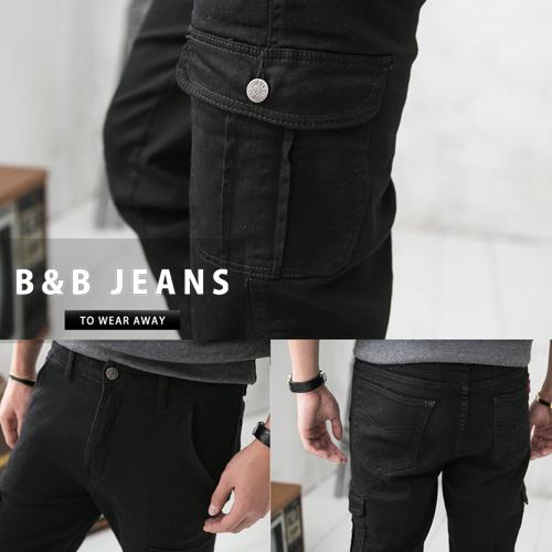 純黑百搭多重口袋設計工作褲