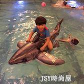 水上動物充氣坐騎兒童戲水玩具 鯊魚座騎兒童游泳圈QM   JSY時尚屋