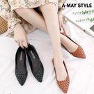 尖頭鞋-編織感斜切規則淺口包鞋