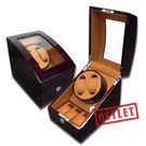 展示福利品7折↘ 機械錶自動上鍊收藏盒 1旋2入錶座轉動+3入收藏 - 黃棕x木紋紅褐色 #R123-EBYB