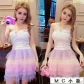 MG 夜店長裙-夏裝甜美氣質抹胸修身連身短裙