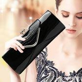 名媛高端宴會手拿包新款鱷魚紋潮韓版漆皮時尚女鞋斜挎長夾包 FF1049【男人與流行】