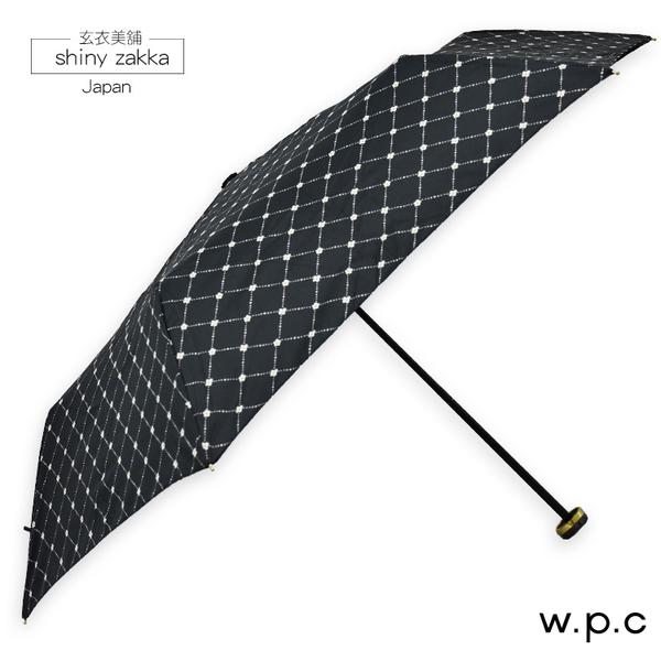 抗UV摺疊傘-日本品牌w.p.c素雅黑菱格小花晴雨折傘-玄衣美舖