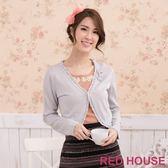 RED HOUSE-蕾赫斯-金蔥珍珠花朵小罩衫(灰色)
