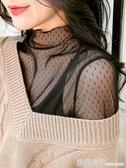 黑色蕾絲打底衫女夏季洋氣紗衣內搭沙t高領透明神仙網紗上衣薄紗 聖誕節全館免運