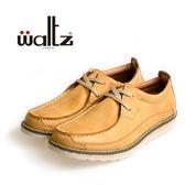 Waltz-「超柔軟」仿舊雙刷色流線感休閒鞋622090-59(桔)