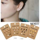 耳環 六件組 韓國 簡約幾何形愛心方形三角形多邊形珍珠組合 耳針耳環【1DDE0036】