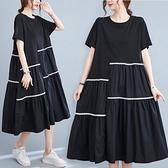 法式大碼連身裙胖mm夏2021新款洋氣減齡時尚寬鬆拼接織帶中長裙女 中大尺碼短袖洋裝