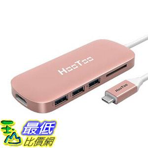 [8玉山最低比價網] 美國代購 HooToo Shuttle 3.1 Type C MacBook專用USB Hub with Charging, HDMI 4K-Rose Gold