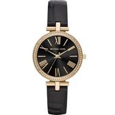 【台南 時代鐘錶 Michael Kors】MK2789 古典品味羅馬時標 晶鑽時尚腕錶 皮帶 金/黑 34mm 公司貨開發票
