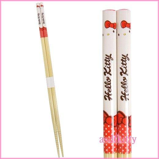 廚房【asdfkitty可愛家】KITTY紅水玉點點料理長筷子/煮麵筷/-前端有止滑設計-日本製