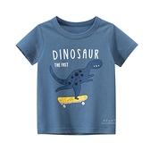 可愛恐龍塗鴉短袖上衣 藍色 童裝 短袖上衣