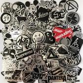 107張黑白潮牌行李箱貼紙防水個性涂鴉潮流手機殼電腦吉他貼紙