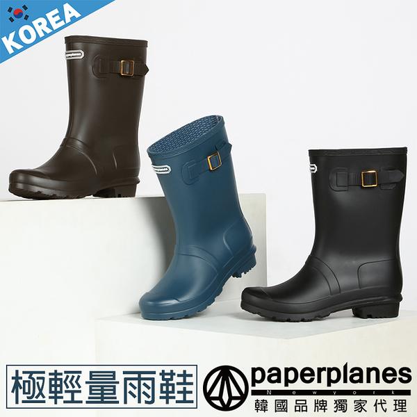 PAPERPLANES 紙飛機 韓國空運 輕量新素材 側釦帶造型 一體成型中筒雨鞋【B7901492】3色
