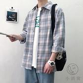 格子長袖襯衫男寬鬆港風情侶外套【小酒窩服飾】