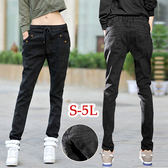 BOBO小中大尺碼【09972】中腰寬版鬆緊哈倫窄管褲-S-5L-共4色