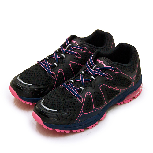 LIKA夢 GOODYEAR 固特異專業緩震氣墊越野慢跑鞋 HAWK CLAW 越野越跑系列 黑藍桃 92810 女
