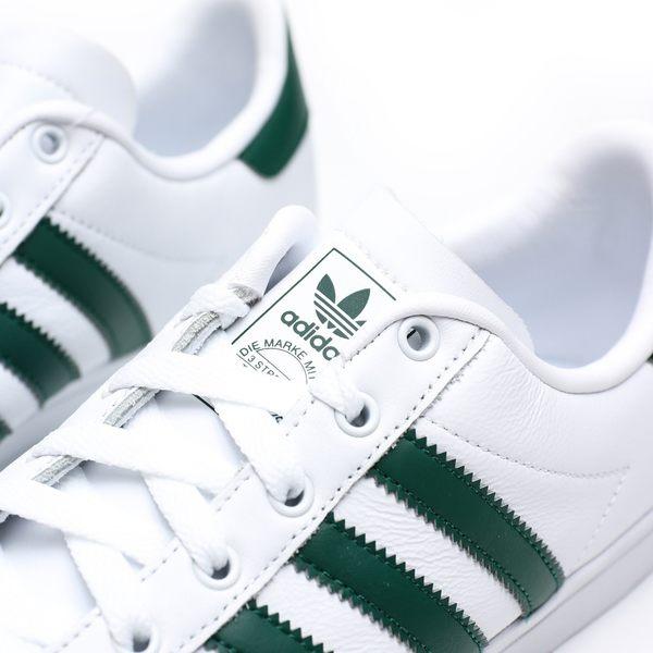 ADIDAS COAST STAR 白皮革 綠LOGO 休閒鞋 女(布魯克林) EE9949
