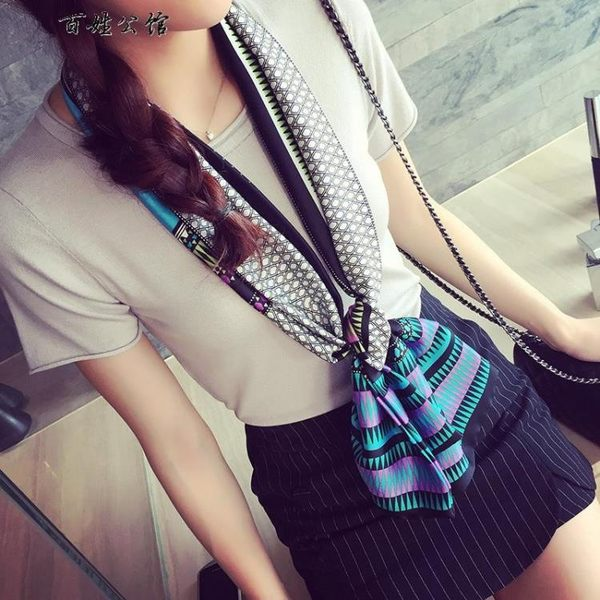 韓版百搭時尚緞面絲巾裝飾小領巾