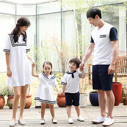 韓版休閒前線海軍風短袖上衣親子裝(男大人)