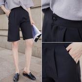 西裝短褲女夏新款爸爸褲女bf風韓版闊腿直筒高腰顯瘦五分中褲     芊惠衣屋