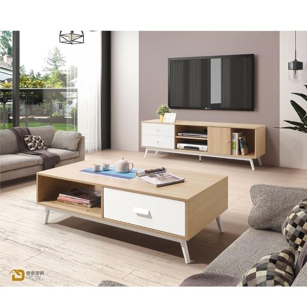 D&T 德泰傢俱 Asa北歐風-白+木紋拼色5.3長櫃 A023-B319-03