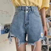 休閒短褲 夏新款韓版2020高腰小雛菊刺繡牛仔短褲薄款毛邊破洞闊腿褲熱褲女