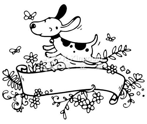 【貝登堡】手作 卡片 楓木印章 木頭印章 木頭章 狗狗與蝴蝶 GT-5293