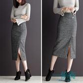窄裙包臀裙毛呢半身裙高腰