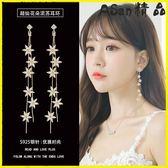 耳環-韓國簡約純銀耳釘長款氣質花朵流蘇耳環