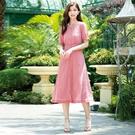春夏5折[H2O]可當外套雪紡刺繡布附內搭長洋裝 - 藍/白/粉色 #0674012