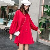 韓版慵懶風裙子寬松燈籠袖襯衫裙中長款長袖連身裙1059ZL-E2F-E221-B紅粉佳人