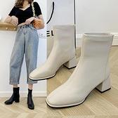 裸靴 短靴女2021秋冬款高跟網紅瘦瘦米白色方頭粗跟馬丁靴中跟彈力裸靴 寶貝計畫