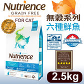PetLand寵物樂園《Nutrience紐崔斯》無穀養生系列貓糧(多種魚)2.5kg/貓飼料