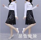 兩件式洋裝套裝小香風連身裙春秋新款流行T恤裙小個子短裙潮 XN8932『黑色妹妹』