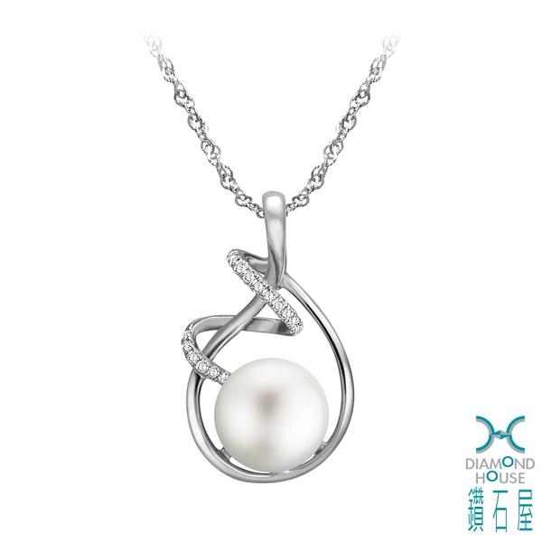 【鑽石屋】10.5mm珍珠鑲鑽墜子
