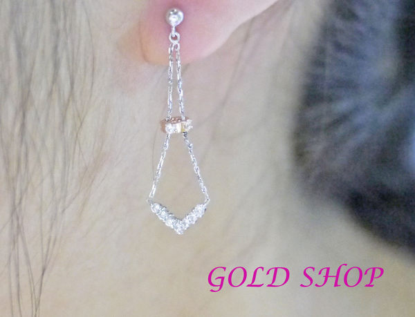 ╭☆ gold shop ☆╯白K金 耳環 附白K耳扣 [ ke 009 ]