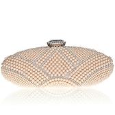 珍珠晚宴包-手工時尚鑲鑽宴會女手拿鏈條包3色71as30[巴黎精品]
