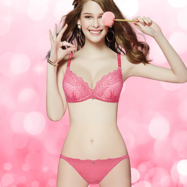 思薇爾-啵時尚系列M-XL蕾絲低腰三角內褲(亮彩桃)