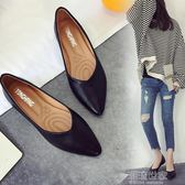 平底單鞋女韓版2018春季新款簡約工作鞋女款黑色小皮鞋平跟女鞋子『潮流世家』