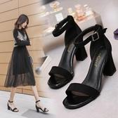 一字扣帶涼鞋女2020新款夏季仙女風百搭粗跟羅馬女鞋時裝高跟鞋潮名品匯
