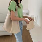 子母包托特包女大容量韓版簡約側背包2021新款素色V形軟皮子母大包包潮 JUST M